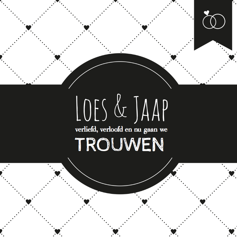Trouwkaarten - Trouwkaart Black&White hartje