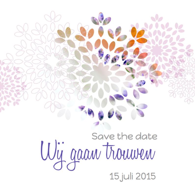 Trouwkaarten - Trouwkaart bloem 1