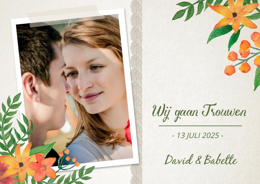Trouwkaarten - Trouwkaart Bloemen Stijlvol Foto