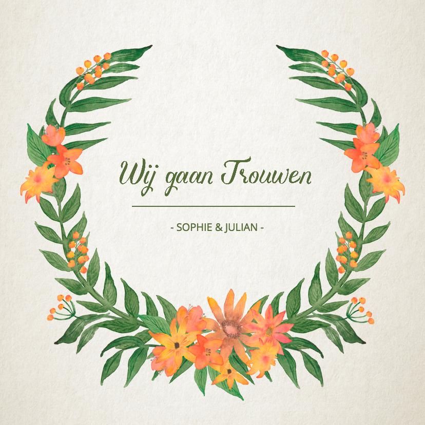 Trouwkaarten - Trouwkaart bloemkrans vintage