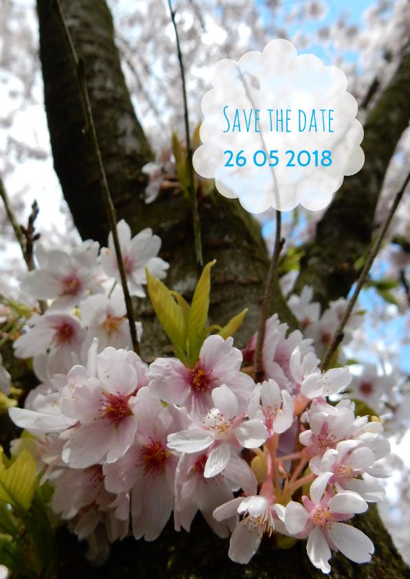 Trouwkaarten - Trouwkaart bloesemboom