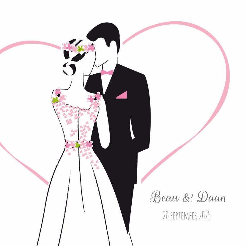 Trouwkaarten - Trouwkaart Bohemian roze