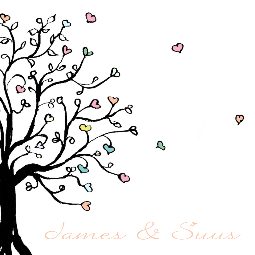 Trouwkaarten - Trouwkaart boom met hartjes