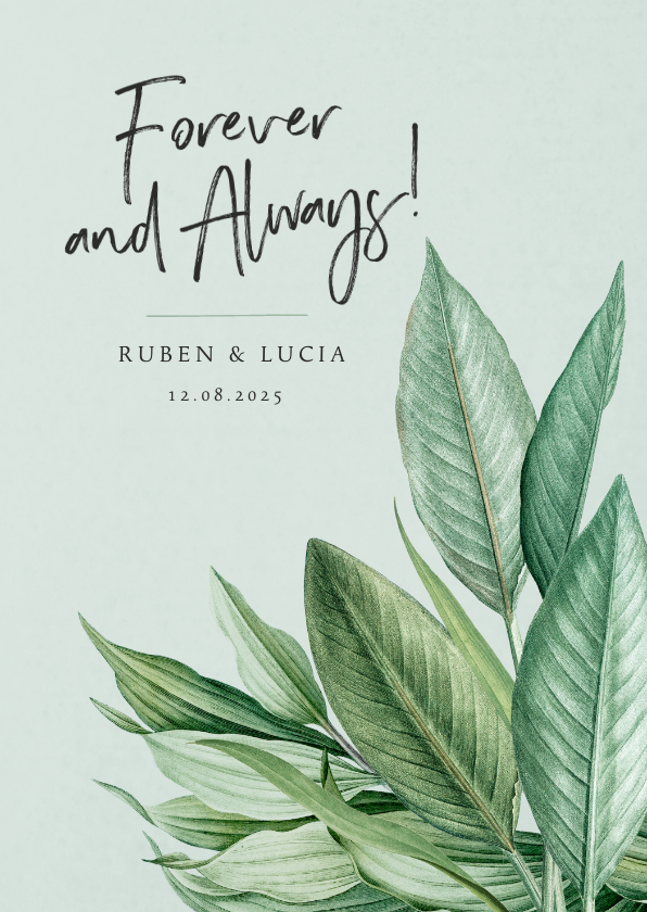 Trouwkaarten - Trouwkaart botanisch groen bladeren stijlvol