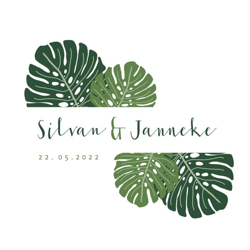 Trouwkaarten - Trouwkaart botanisch groen met grote bladeren