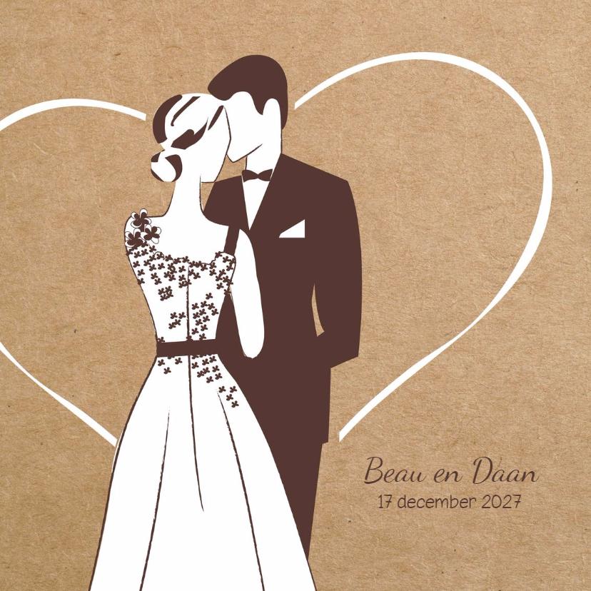 Trouwkaarten - Trouwkaart bruidspaar in romantisch hart