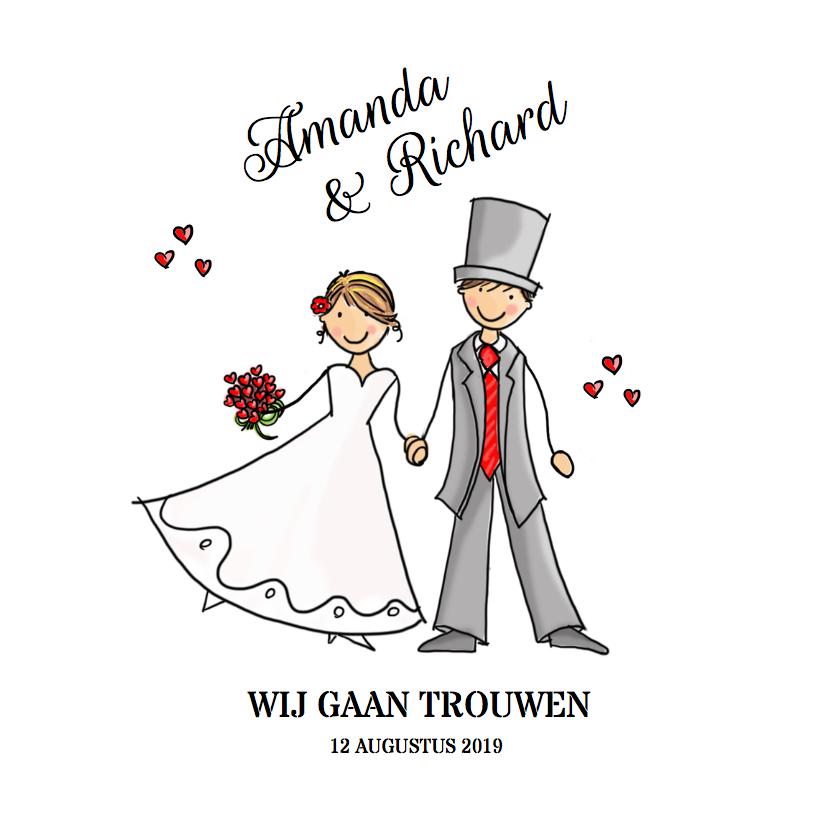 Trouwkaarten - Trouwkaart bruidspaar rode hartjes