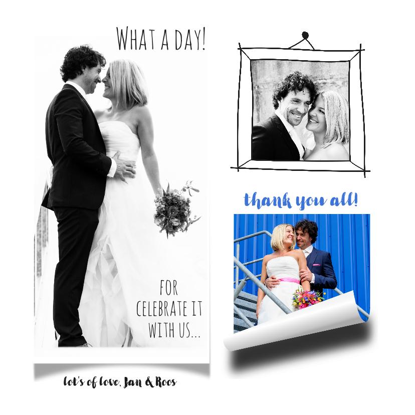 Trouwkaarten - Trouwkaart bruiloft dank foto collage