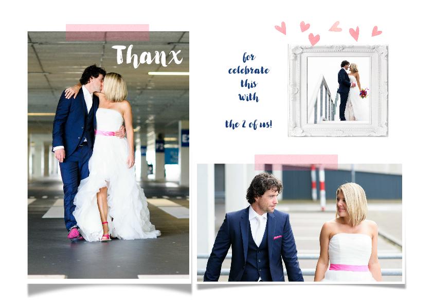 Trouwkaarten - Trouwkaart collage thanx