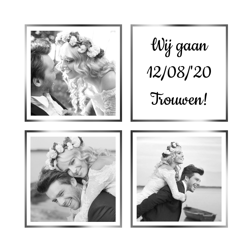 Trouwkaarten - Trouwkaart collage wit 3x foto