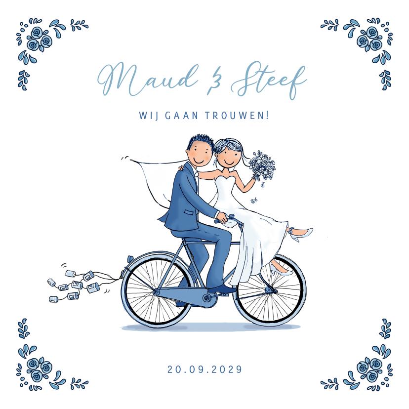 Trouwkaarten - Trouwkaart Delftsblauw fiets