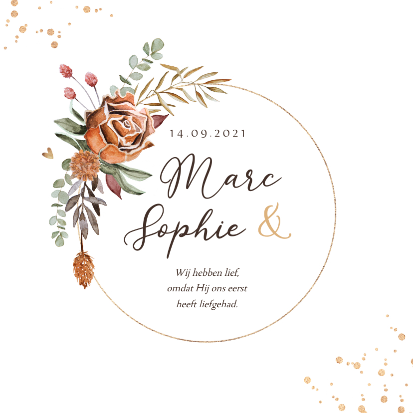 Trouwkaarten - Trouwkaart droogbloemen stijlvol christelijk krans goud