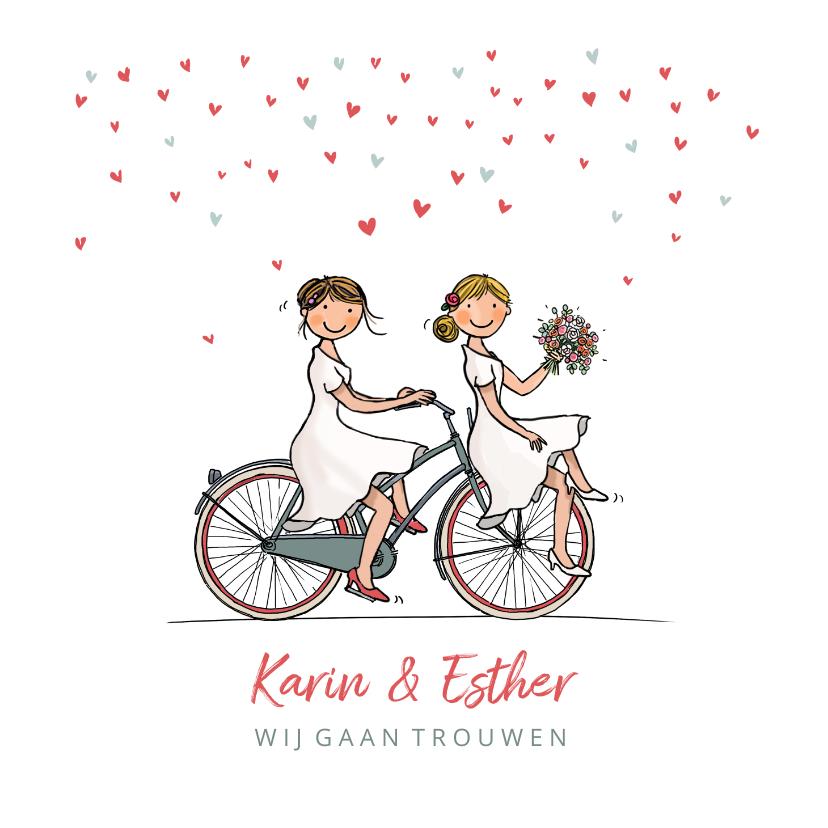 Trouwkaarten - Trouwkaart fiets bruiden