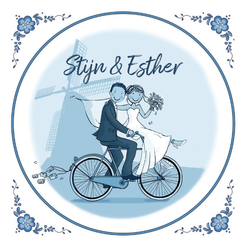 Trouwkaarten - Trouwkaart fiets delftsblauw molen