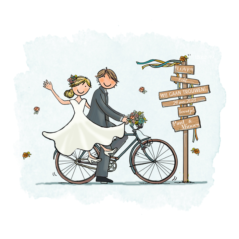Trouwkaarten - Trouwkaart fiets retro bohemien