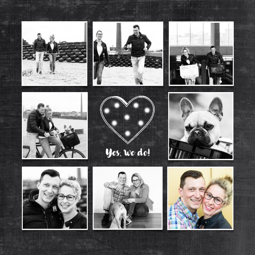 Trouwkaarten - trouwkaart foto collage schoolbord