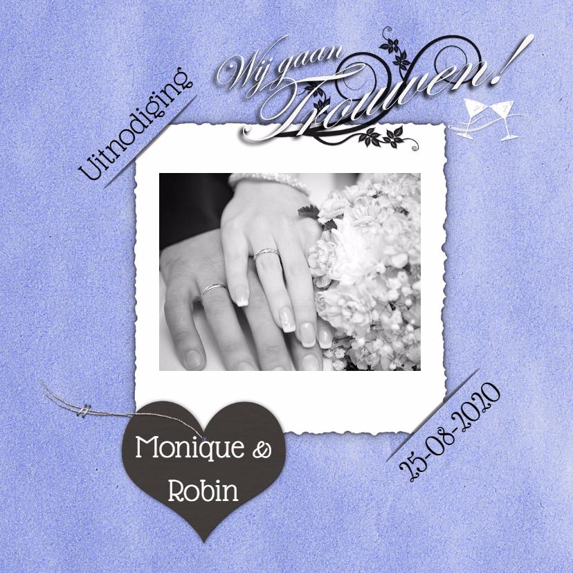 Trouwkaarten - Trouwkaart foto en hart blauw