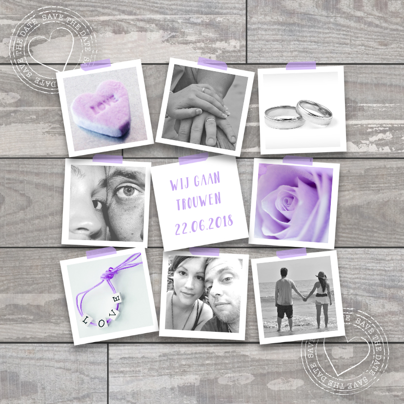 Trouwkaarten - Trouwkaart fotocollage houtlook lila