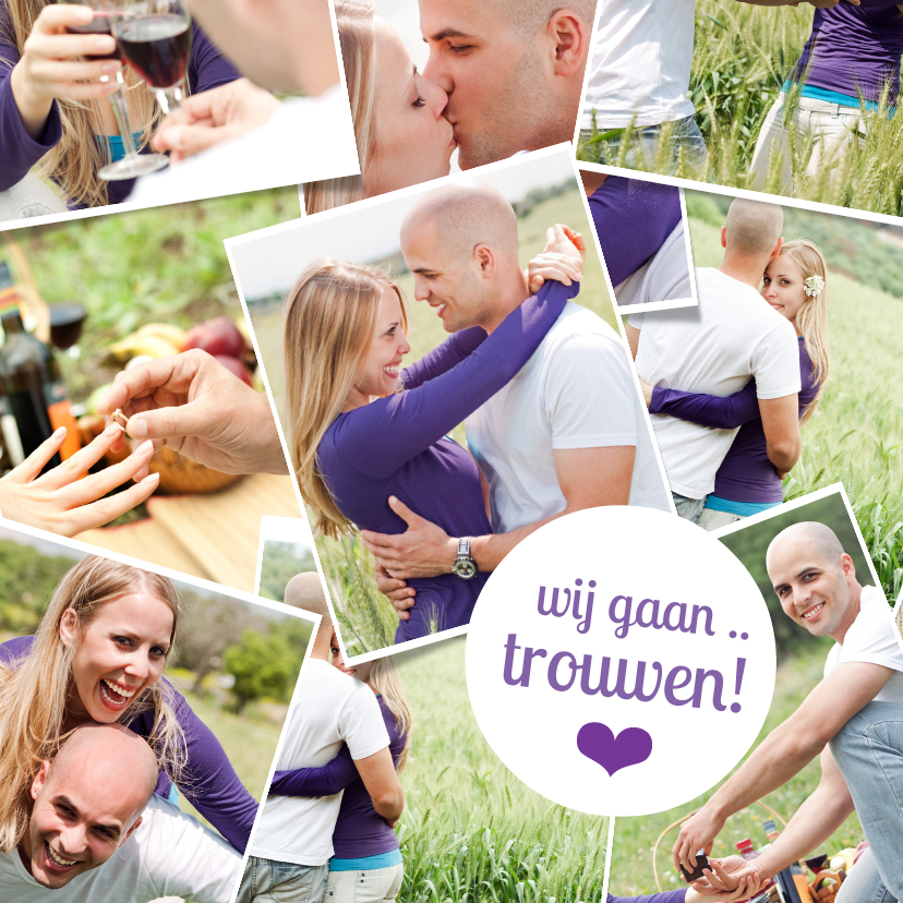 Trouwkaarten - Trouwkaart fotocollage