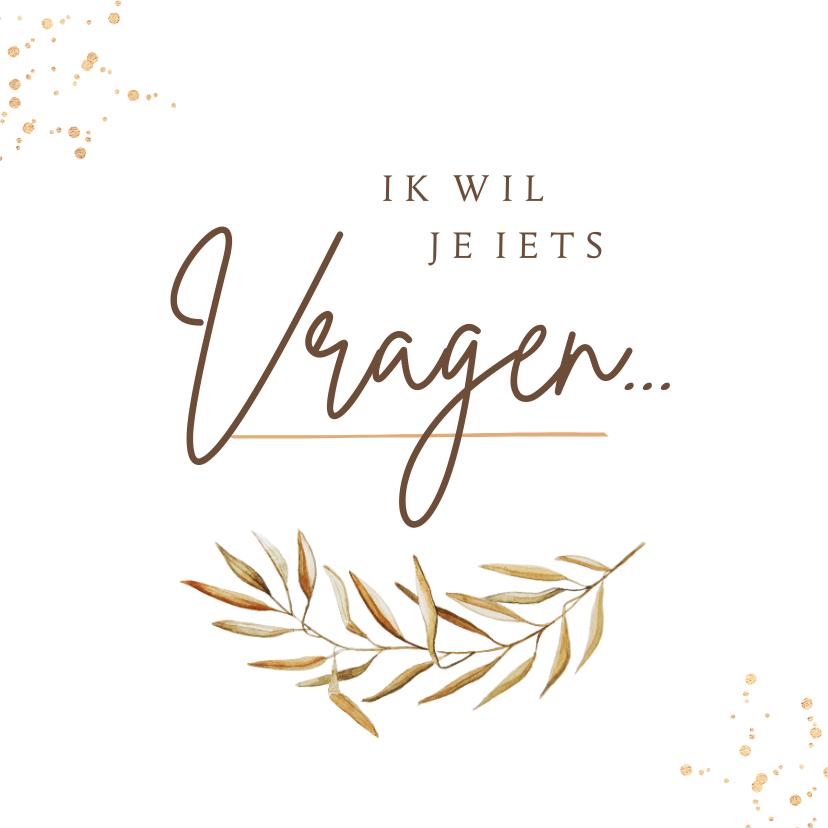 Trouwkaarten - Trouwkaart getuige bruidsmeisje bohemian goud waterverf