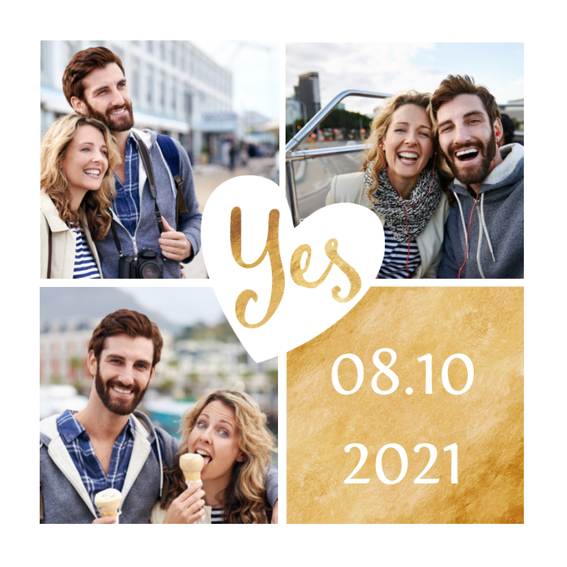Trouwkaarten - Trouwkaart goud met foto collage