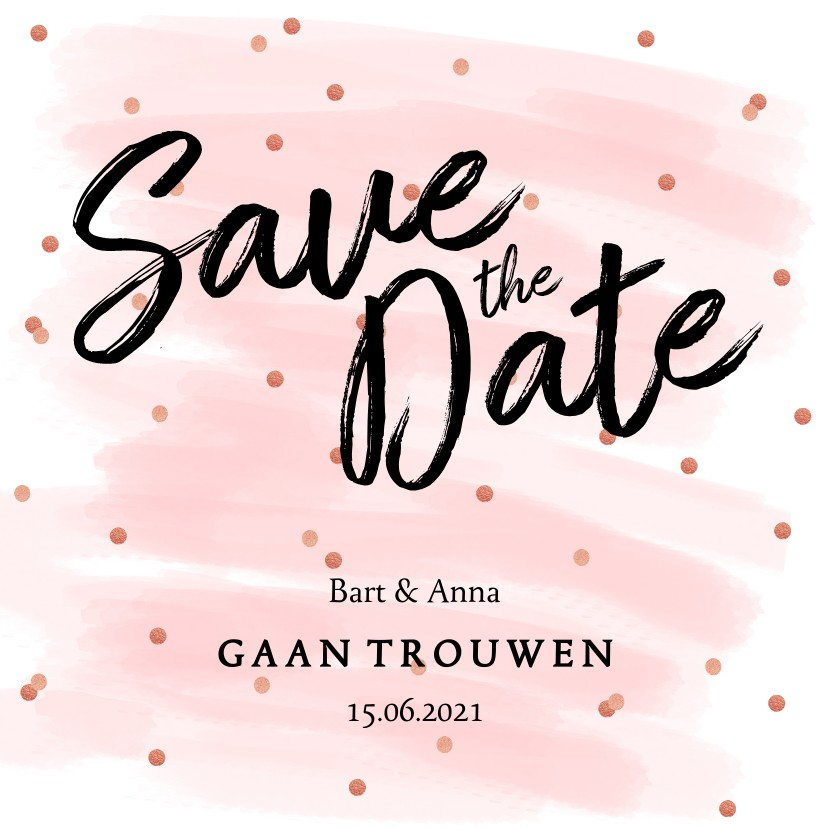 Trouwkaarten - Save the date kaart confetti aquarel