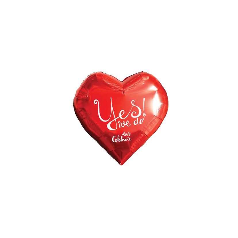 Trouwkaarten - Trouwkaart hart rood yes