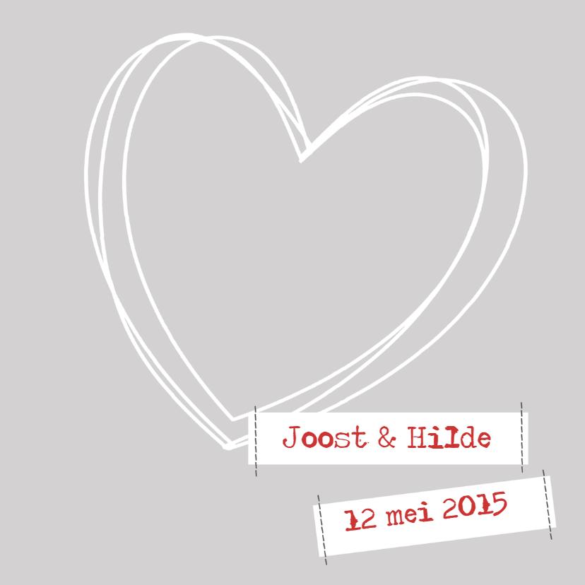 Trouwkaarten - Trouwkaart hart stiksels