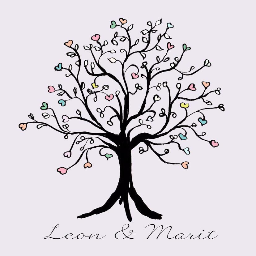 Trouwkaarten - Trouwkaart hartjesboom