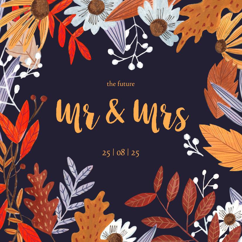 Trouwkaarten - Trouwkaart herfstbladeren