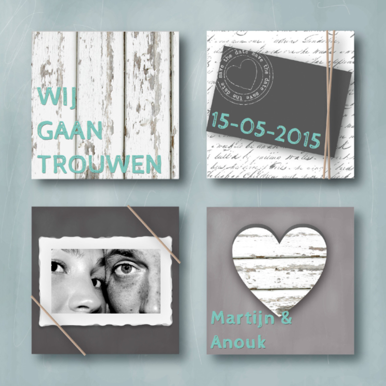Trouwkaarten - Trouwkaart Hip & Stoer Mint
