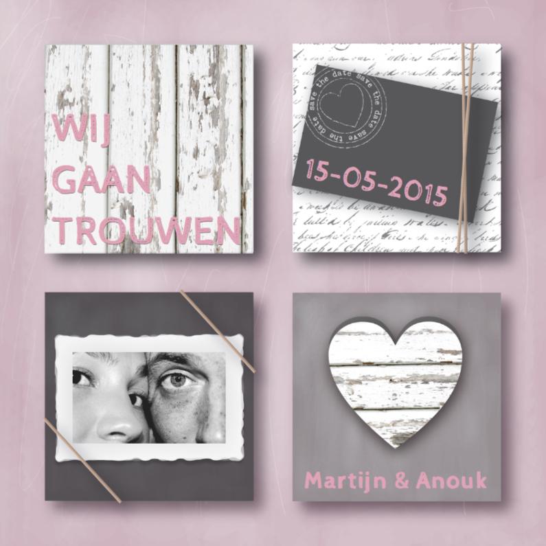 Trouwkaarten - Trouwkaart Hip & Stoer Roze