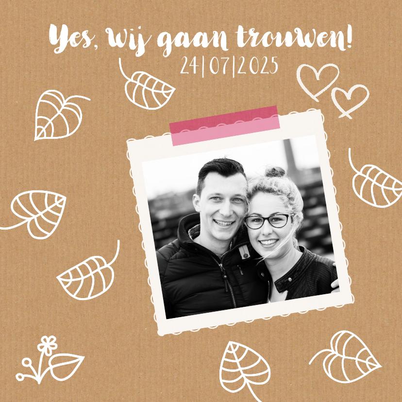 Trouwkaarten - Trouwkaart hip karton  foto illustraties
