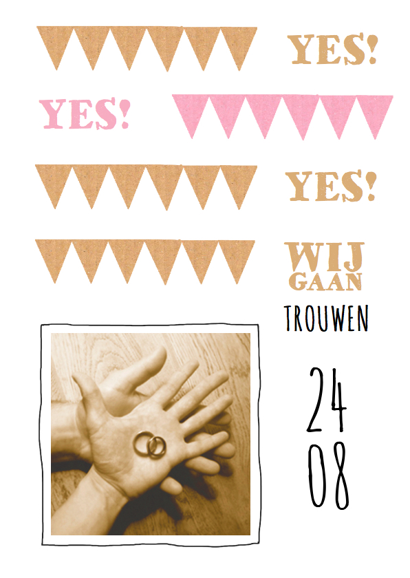 Trouwkaarten - trouwkaart hip vlaggetjes karton