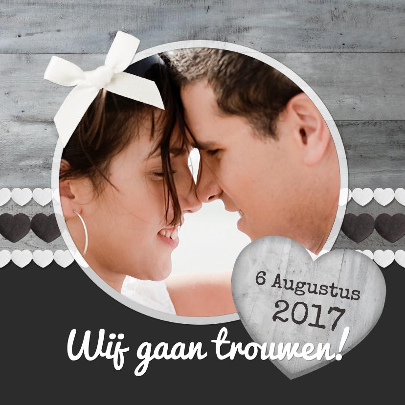 Trouwkaarten - trouwkaart hout grijs 3 1LS3