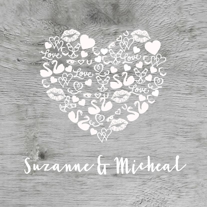 Trouwkaarten - Trouwkaart iconen hart hout wit