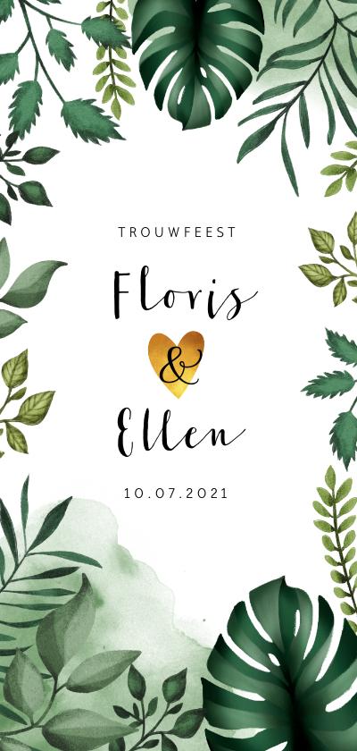 Trouwkaarten - Trouwkaart in Bohemian stijl met bladeren en waterverf