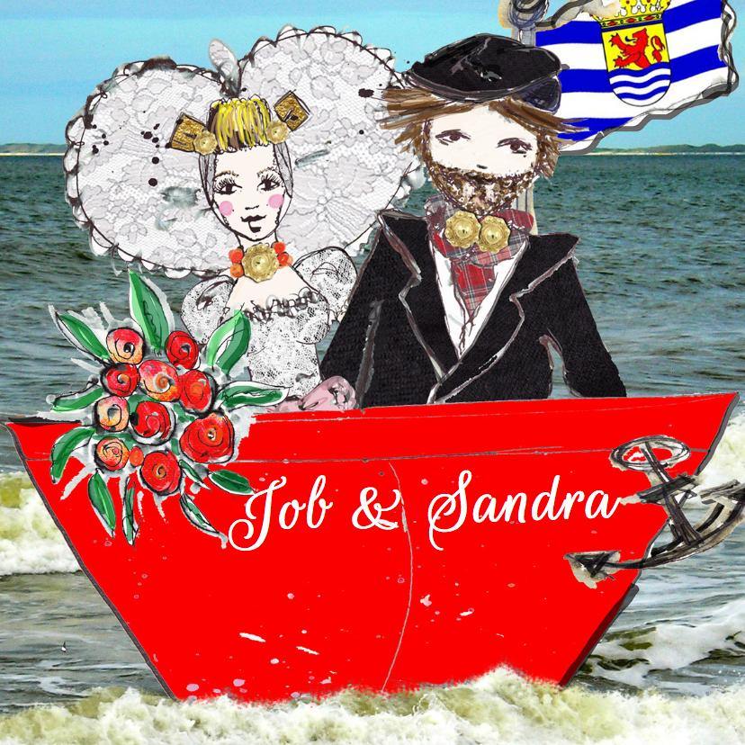 Trouwkaarten - Trouwkaart in het huwelijkbootje