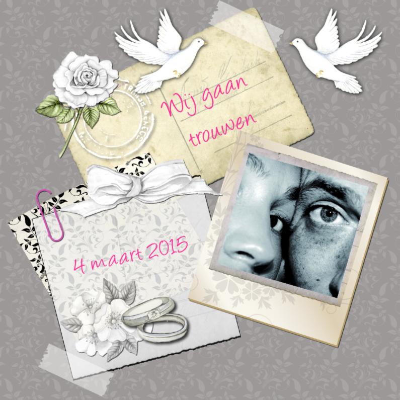 Trouwkaarten - trouwkaart in vintage stijl foto