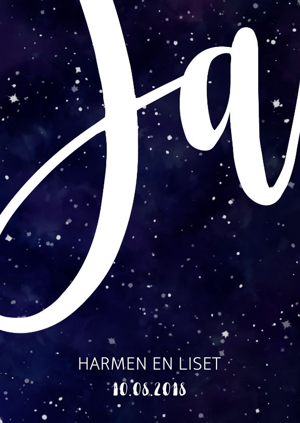 Trouwkaarten - Trouwkaart 'JA' Galaxy