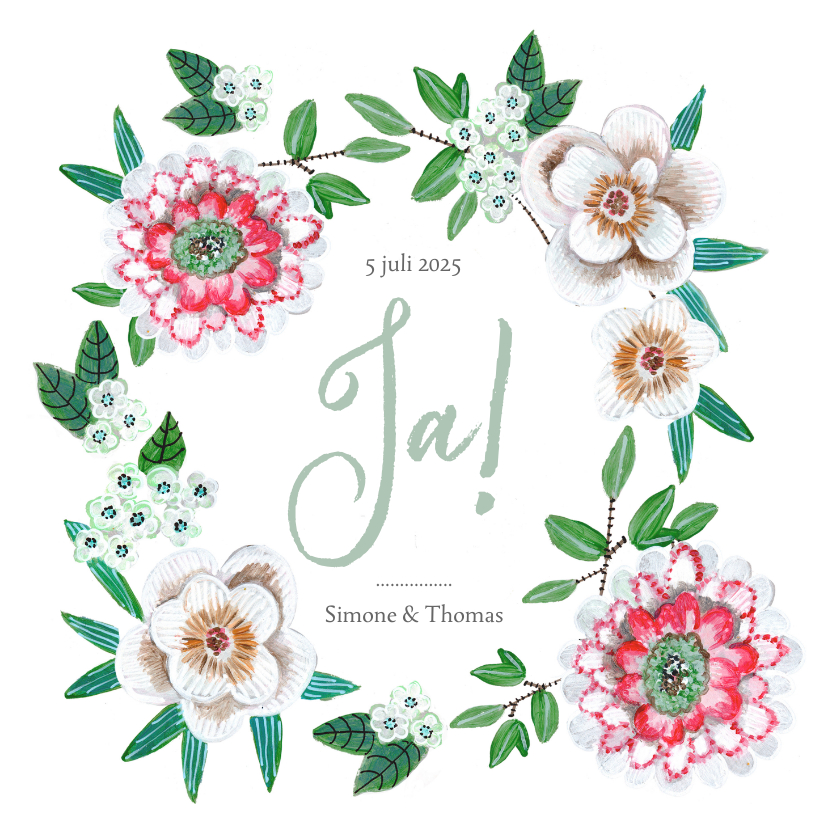 Trouwkaarten - Trouwkaart Ja! met mooie bloemen