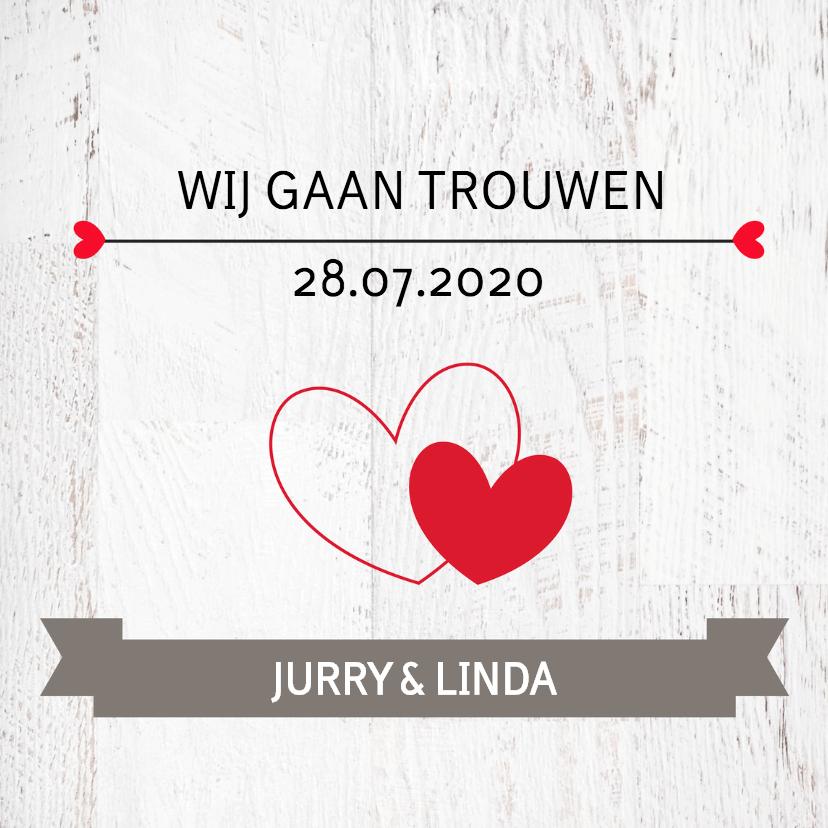 Trouwkaarten - Trouwkaart Jurry en Linda