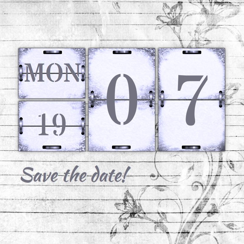 Trouwkaarten - Trouwkaart kalender hout RB
