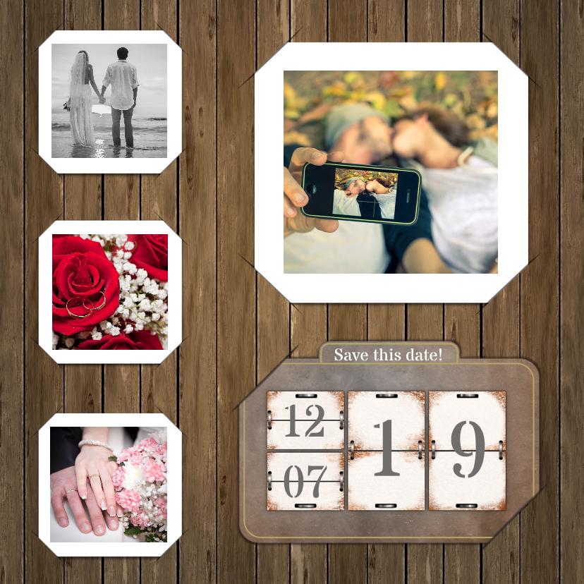 Trouwkaarten - Trouwkaart kalender op hout RB