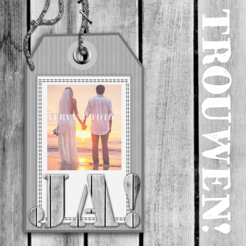 Trouwkaarten - Trouwkaart label hout RB