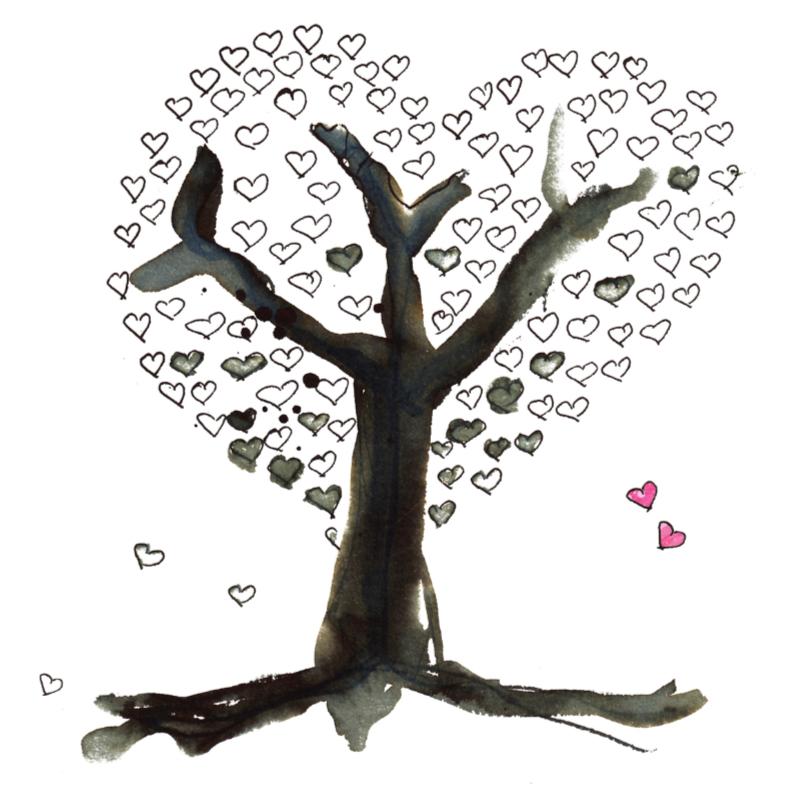 Trouwkaarten - Trouwkaart liefdesboom