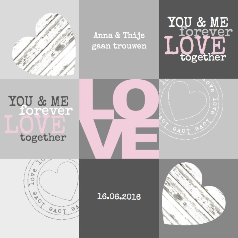 Trouwkaarten - Trouwkaart Love Vakjes