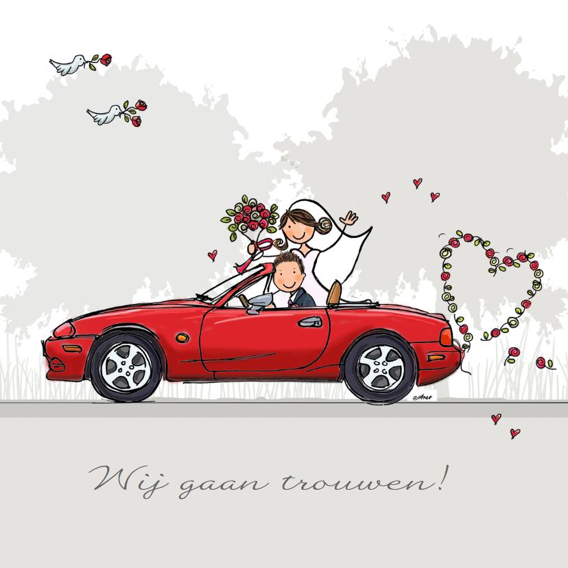 Trouwkaarten - Trouwkaart Mazda rood donker klant
