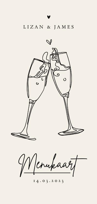 Trouwkaarten - Trouwkaart menukaart stijlvol modern champagne pastel