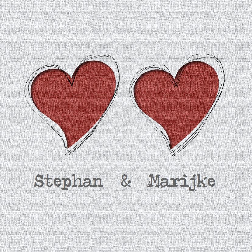 Trouwkaarten - trouwkaart met 2 harten